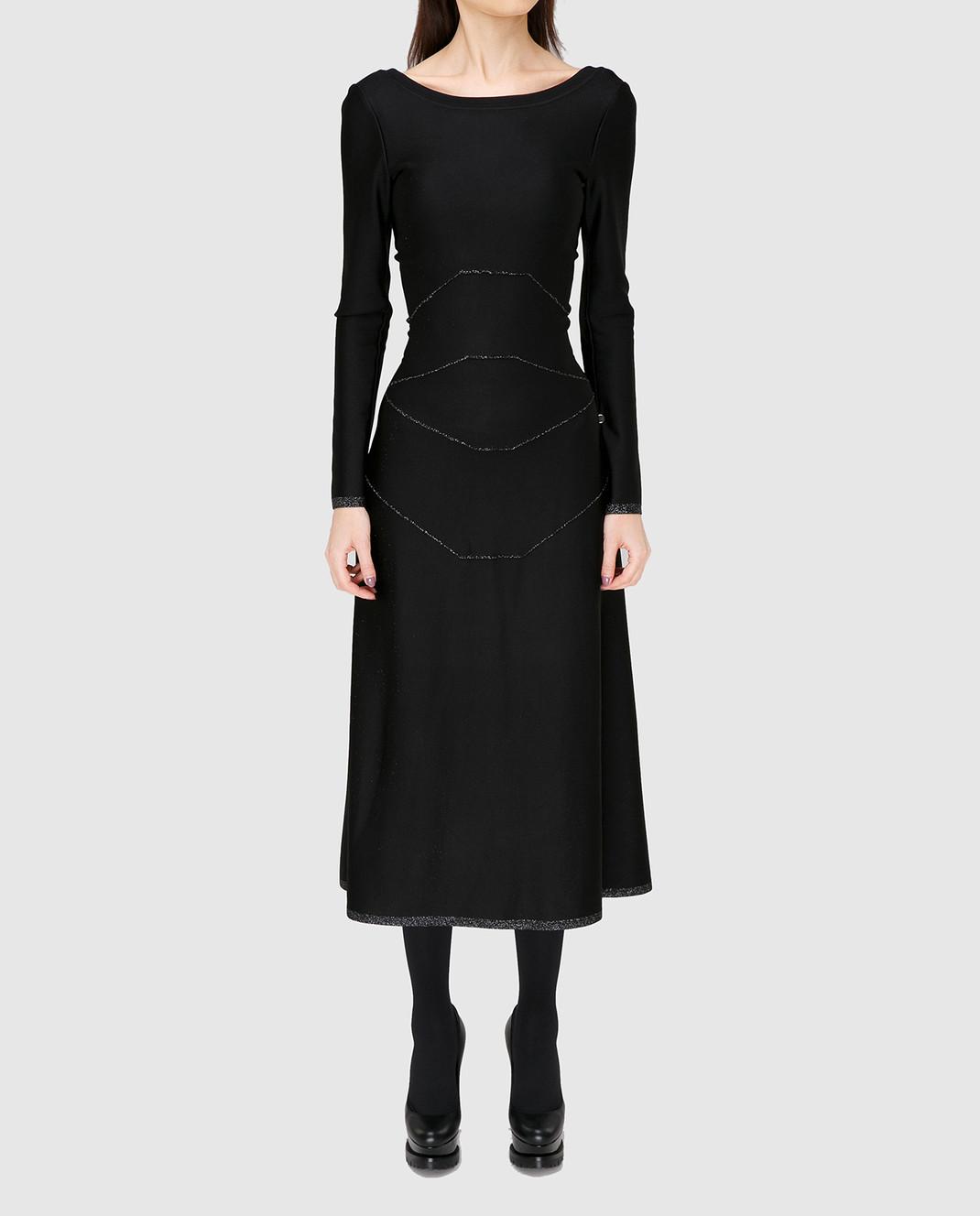 Azzedine Alaia Черное платье с V-образным вырезом на спине 6H9RG99LM288 изображение 3