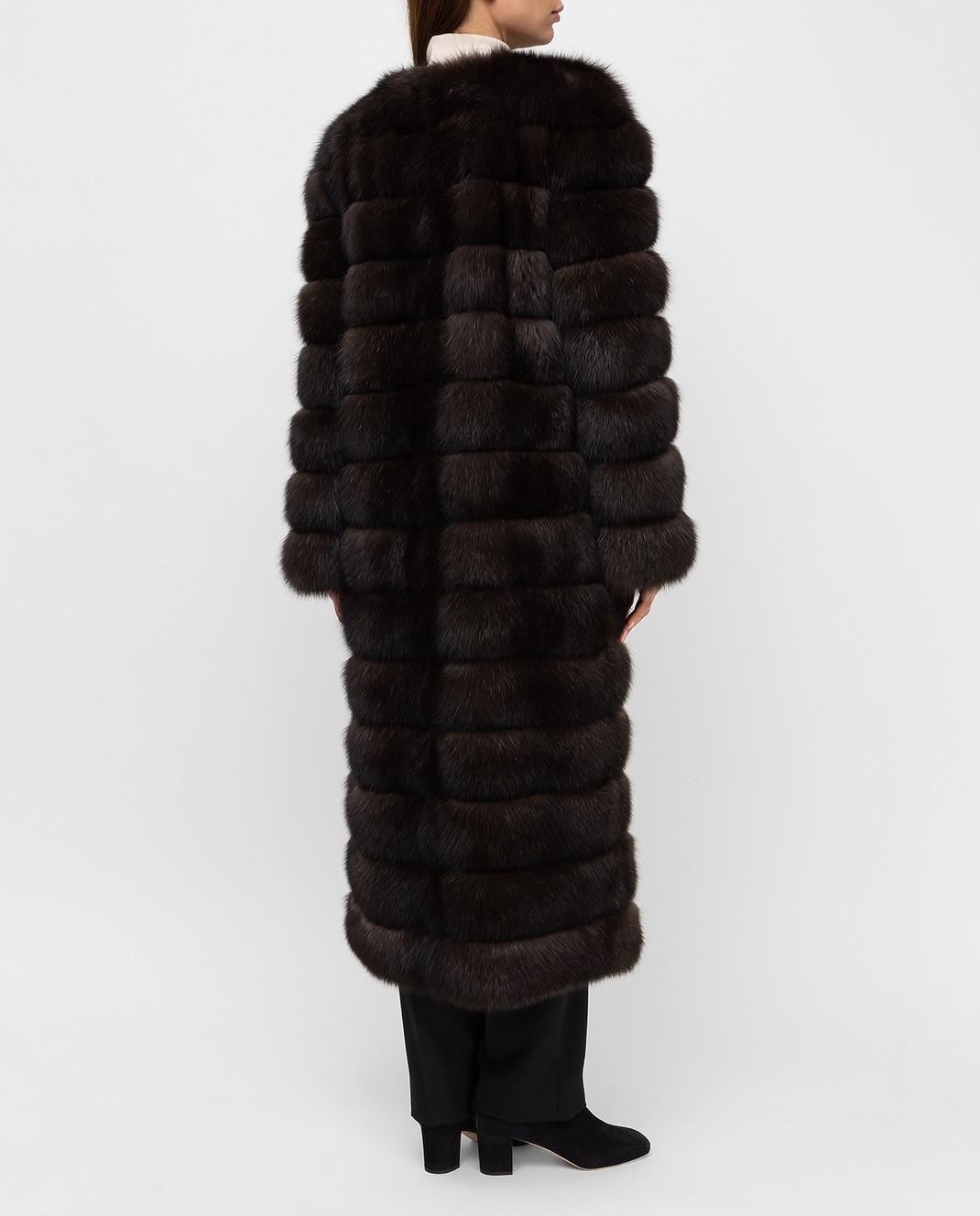 Real Furs House Темно-коричневая шуба из соболя SBR596DARKSILV1 изображение 4