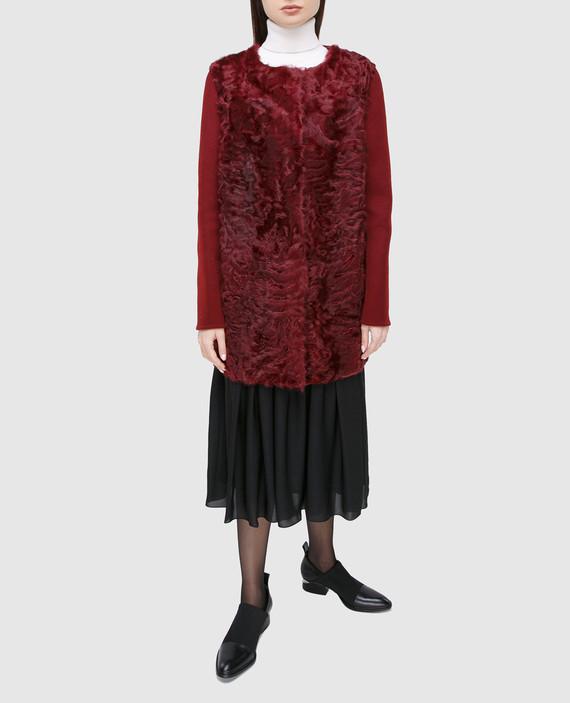 Бордовое пальто из шерсти и меха ягненка hover