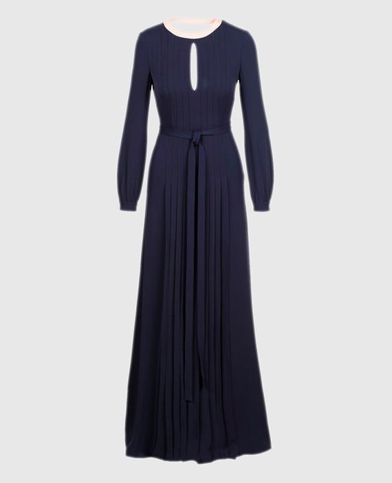 Темно-синее платье из шелка