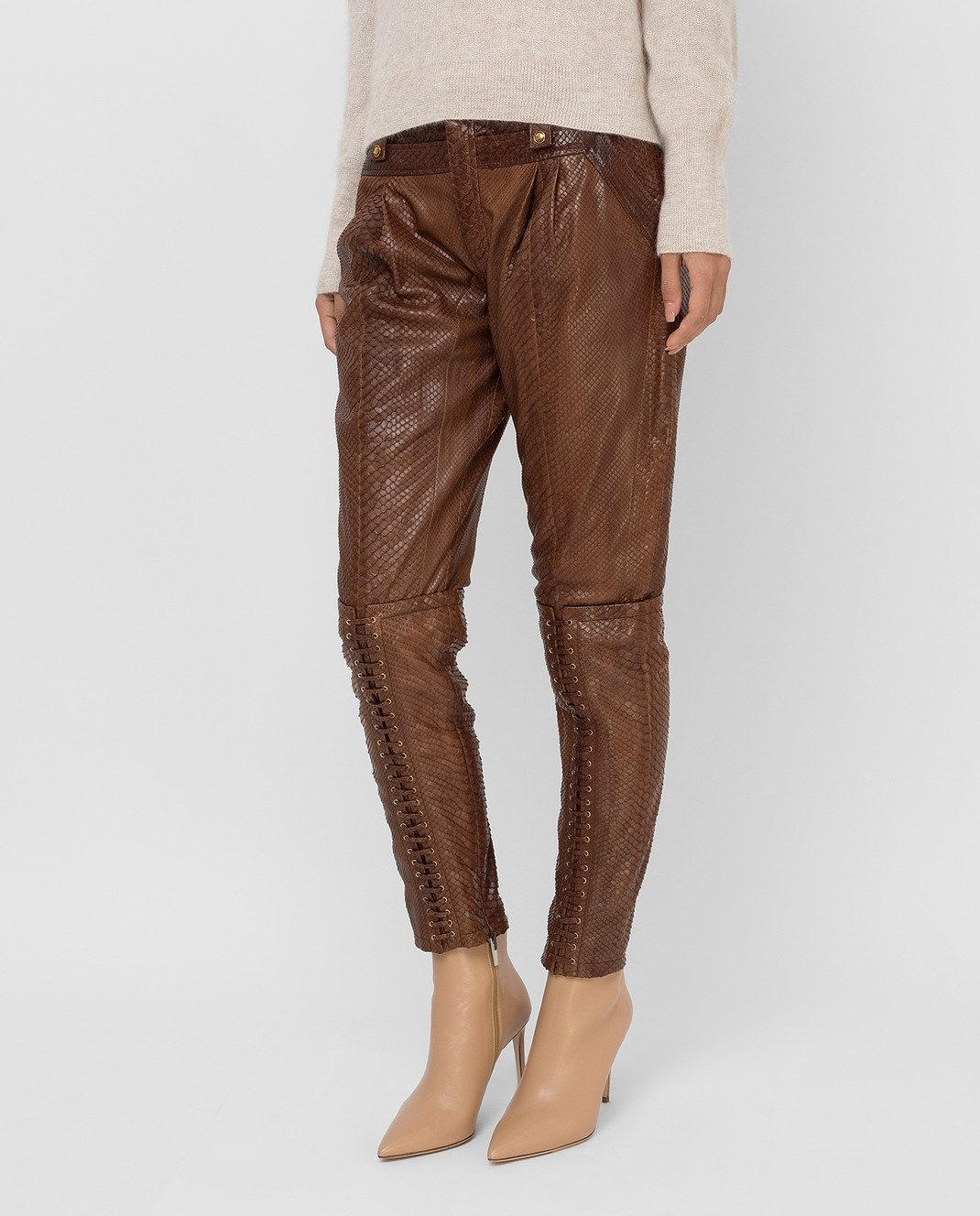Gucci Коричневые брюки из кожи питона 264366 изображение 3