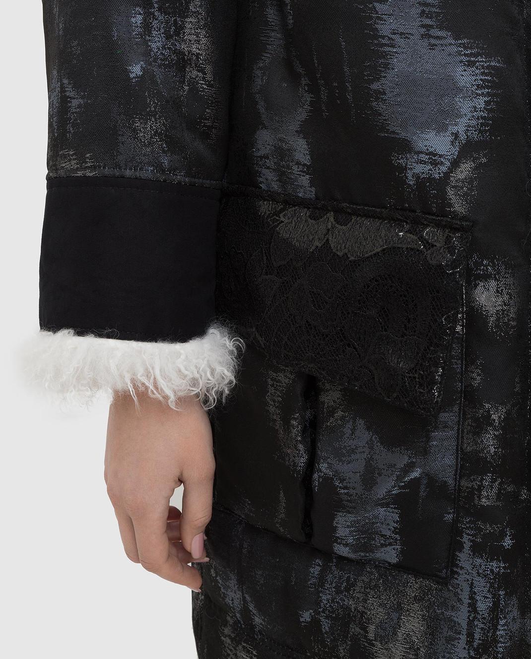 Gate 23 by Florence mode Черная куртка с мехом ламы G166J изображение 5