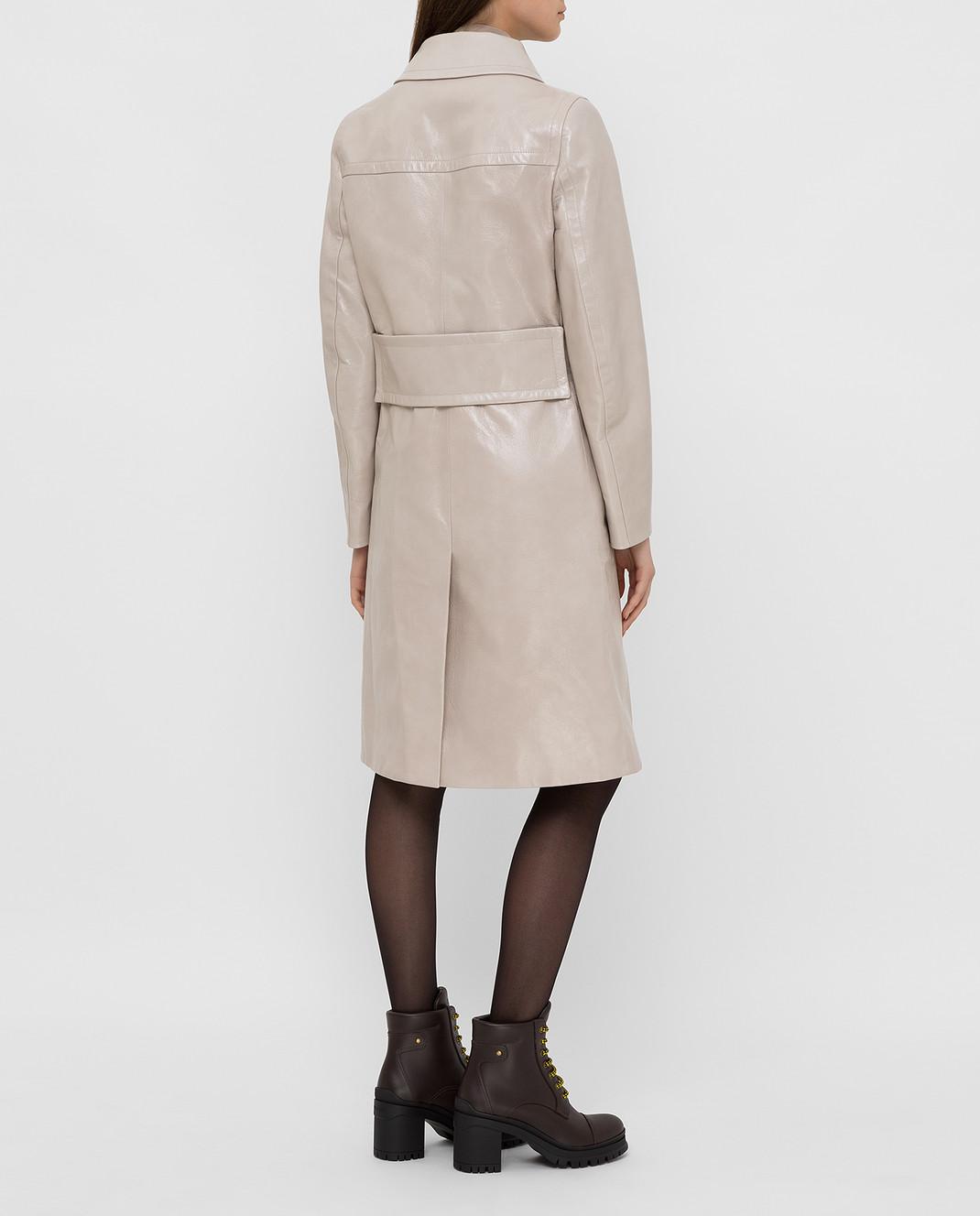 Prada Бежевое кожаное пальто 569031UKQ изображение 4