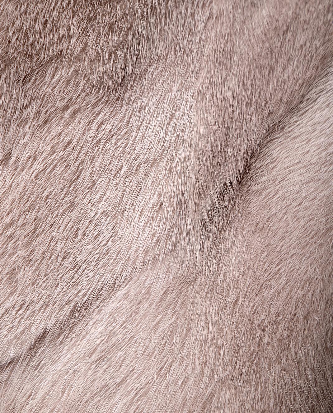 Florence Mode Серая шуба из меха норки с поясом изображение 5