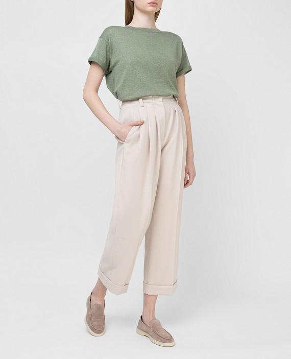 Светло-бежевые брюки из шерсти hover