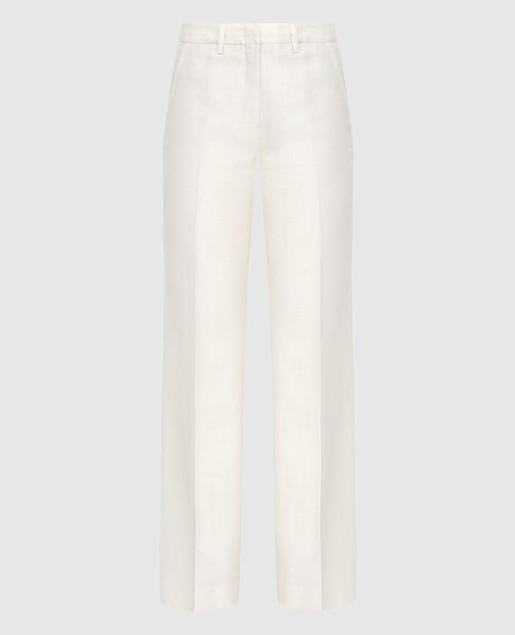 Светло-бежевые брюки из шерсти, шелка и льна
