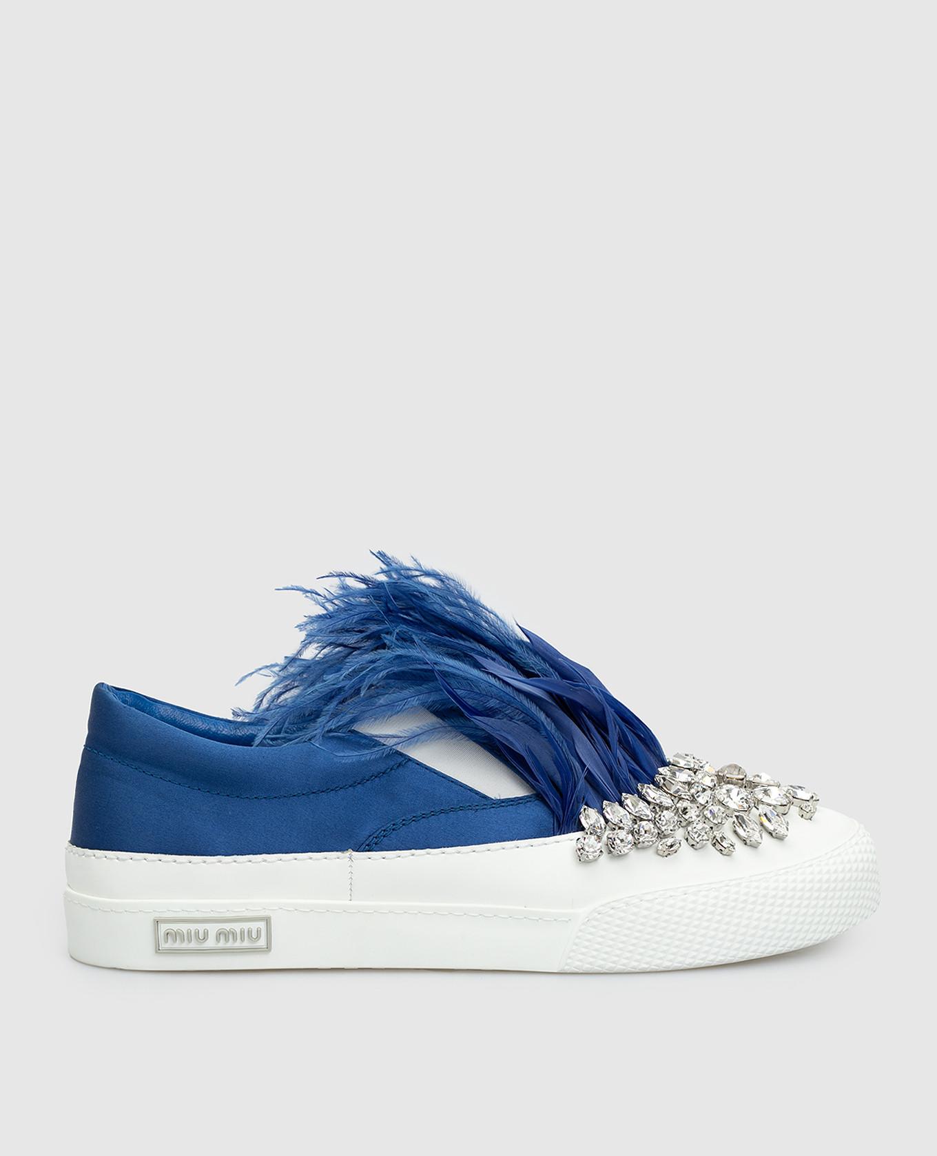 Синие слипоны с кристаллами и перьями из страуса