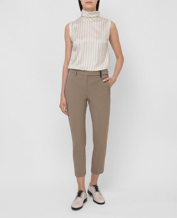 Оливковые брюки из шерсти hover