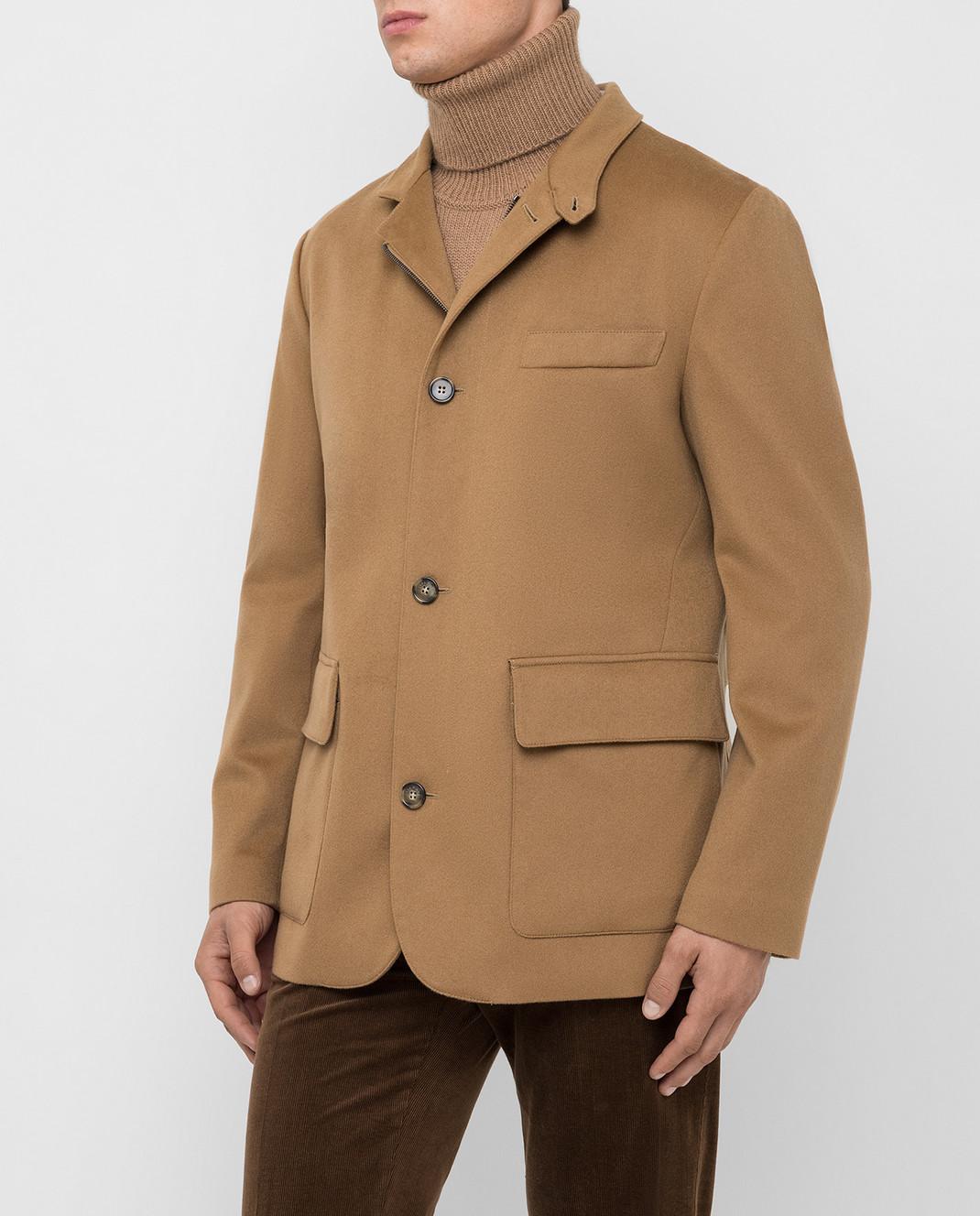 Loro Piana Темно-бежевое пальто из кашемира изображение 3
