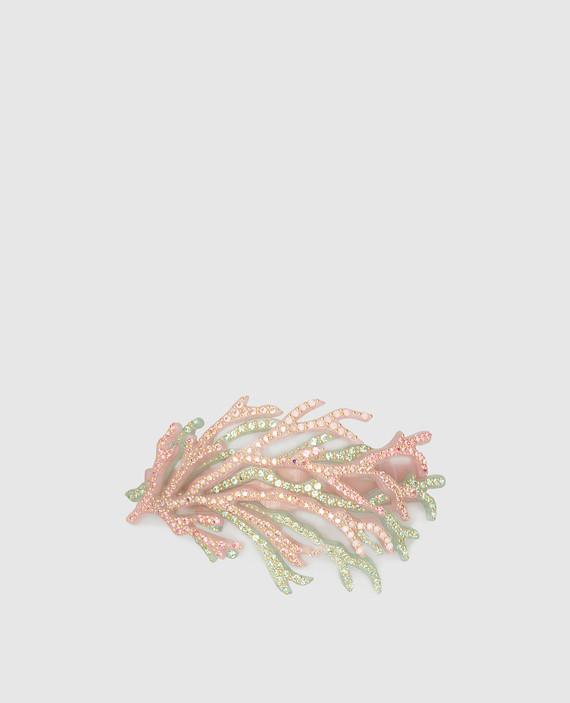 Розовая заколка с кристаллами