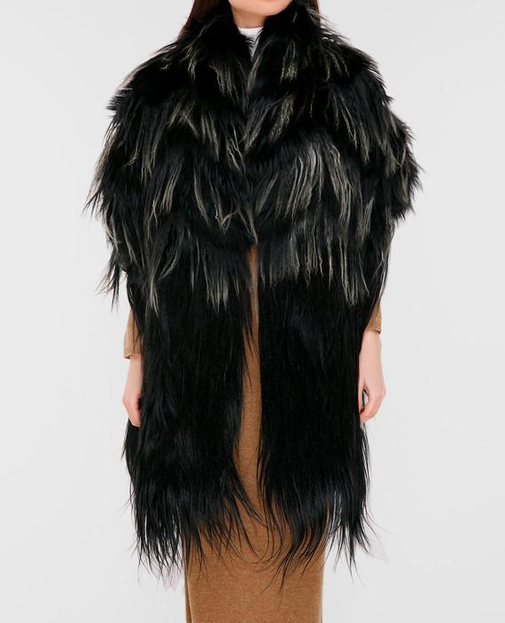 Черный шарф из меха мурмаски, ламы и снежной козы hover