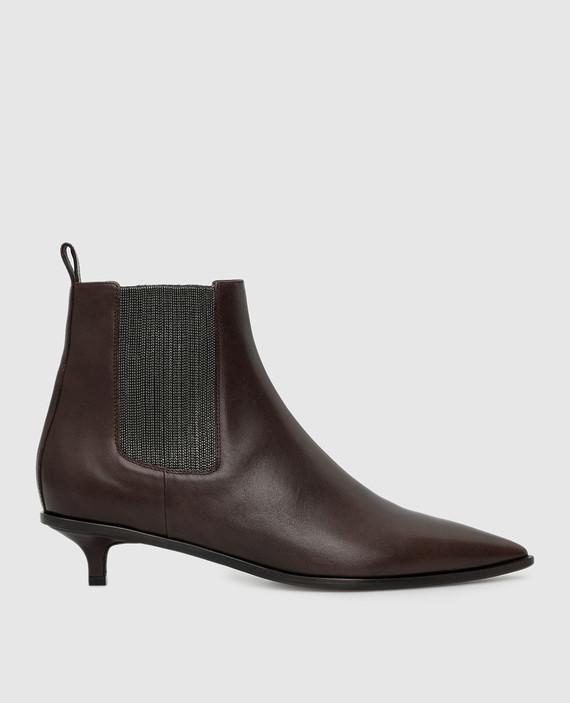 Темно-коричневые кожаные ботильоны