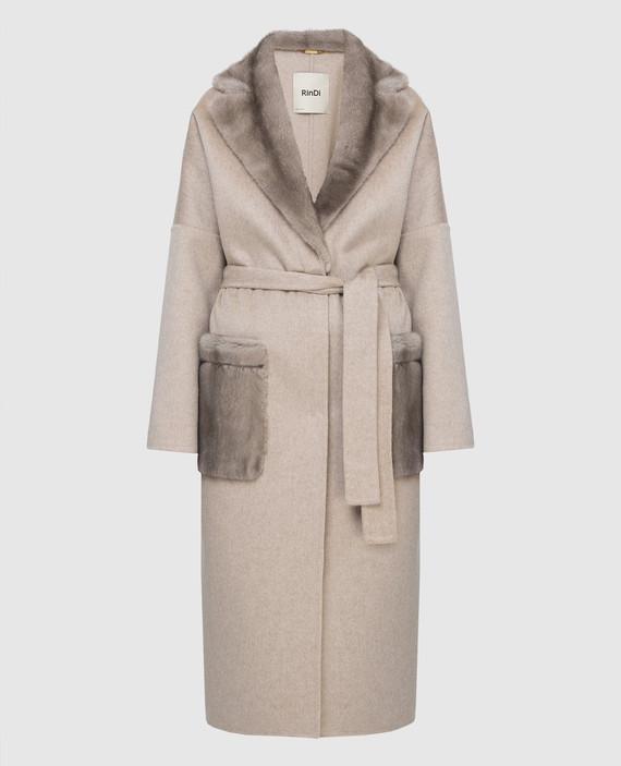 Бежевое пальто из кашемира с мехом норки