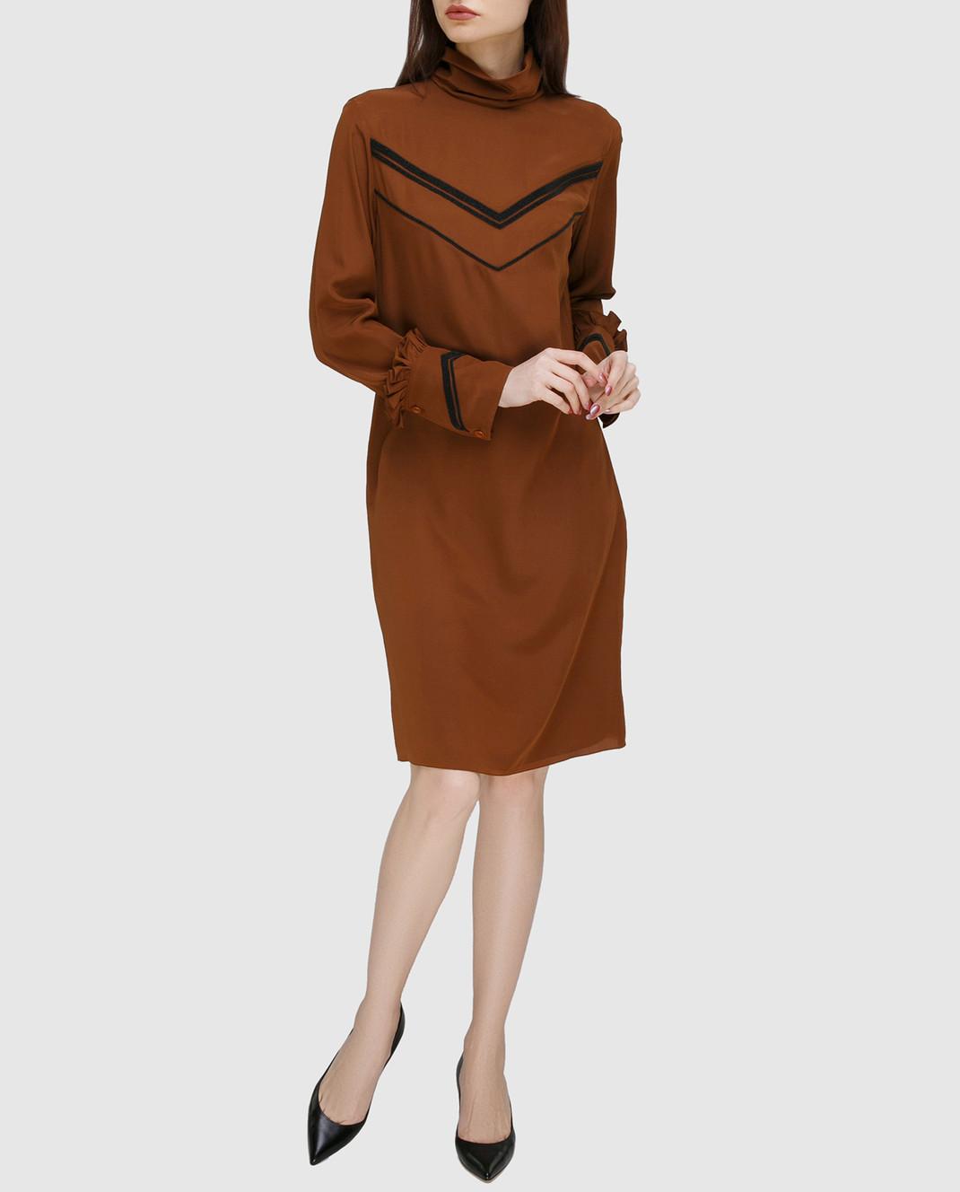 NINA RICCI Терракотовое платье из шелка 17PCRO040SE0801 изображение 2