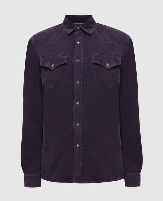 Темно-сиреневая вельветовая рубашка