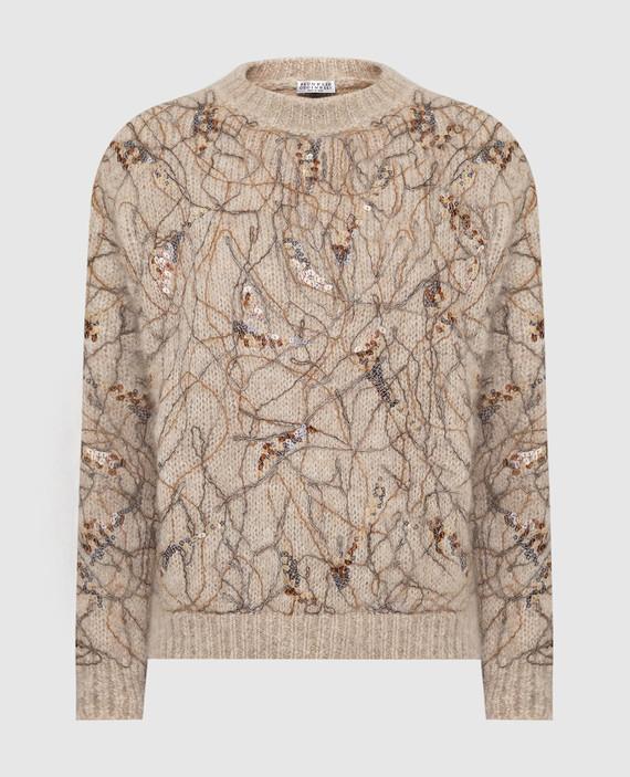 Бежевый свитер из мохера