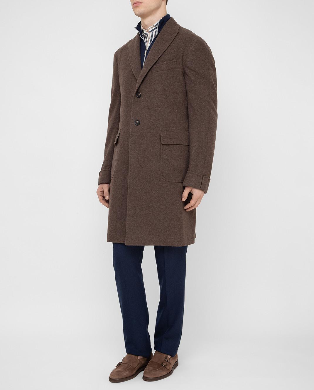 Stile Latino Коричневое пальто из шерсти и кашемира CUALFIO4592TMC20 изображение 3