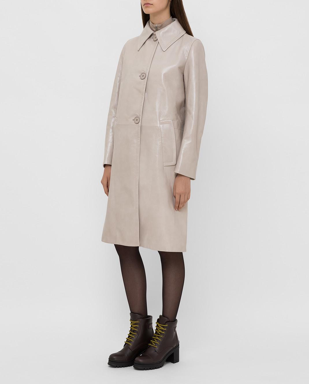 Prada Бежевое кожаное пальто 569031UKQ изображение 3
