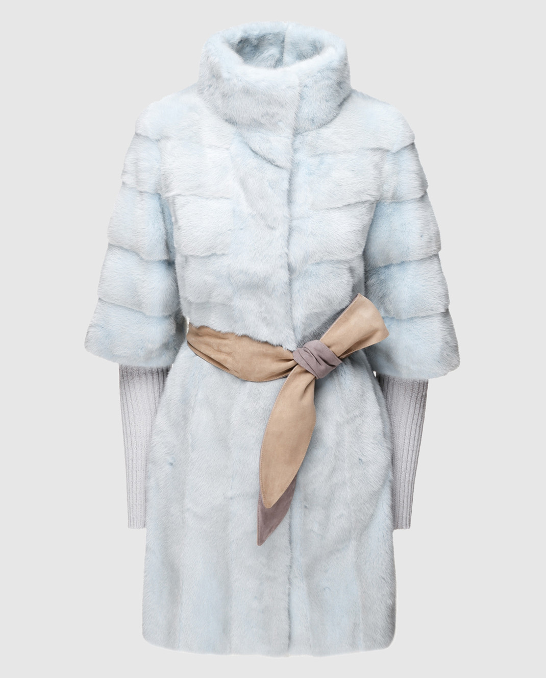 Florence Mode Голубая шуба из меха норки с поясом и митенками 18N145PERLA