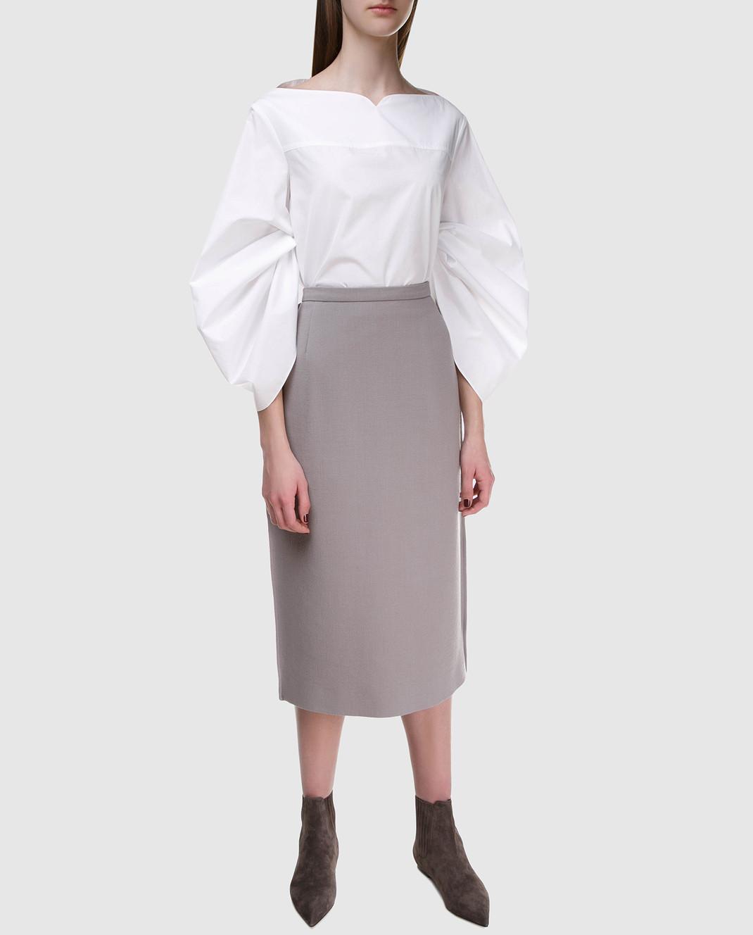 NINA RICCI Серая юбка 18PCJU005WV0230 изображение 2