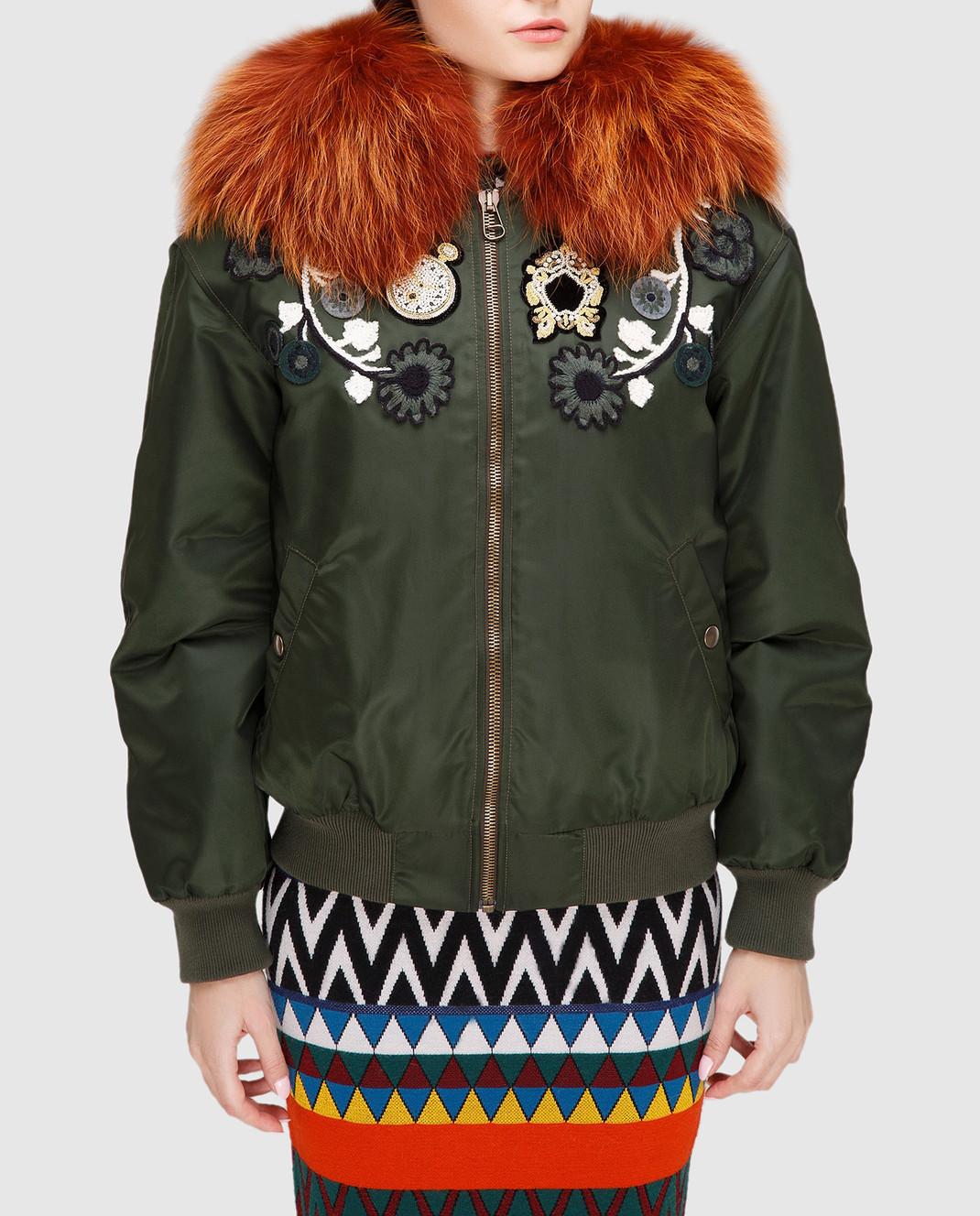 Mr&Mrs Italy Зеленая куртка с мехом WBB015 изображение 3