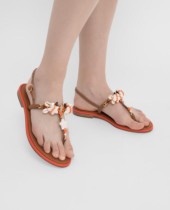 Коричневые кожаные сандалии с кристаллами hover