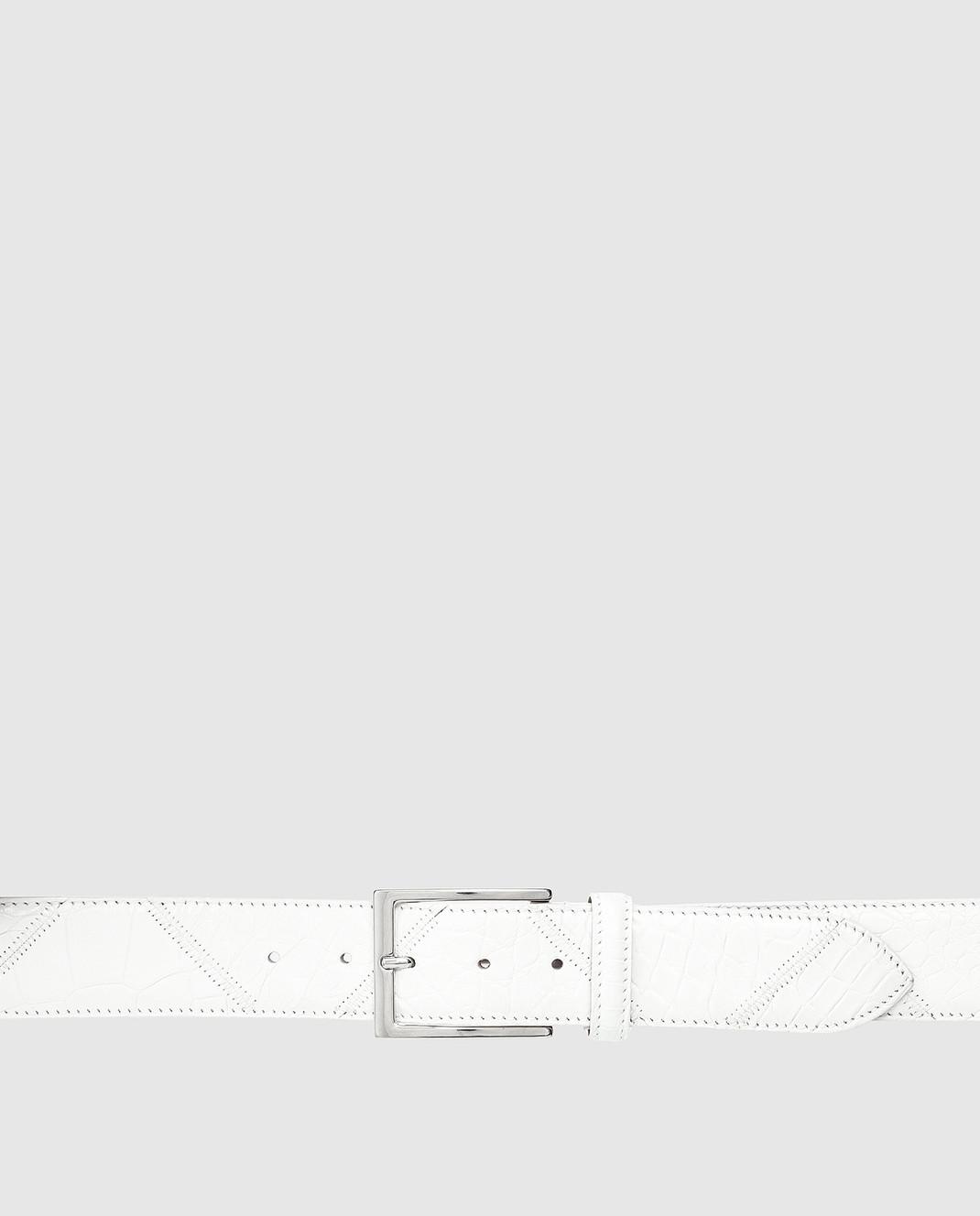 Bochicchio Белый кожаный ремень BELTPATCHWORK изображение 4