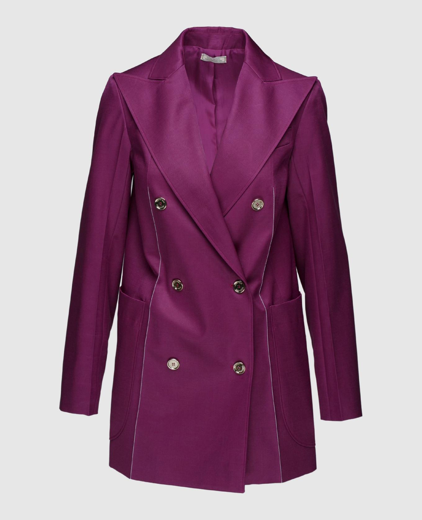 Фиолетовый жакет из шерсти и шелка