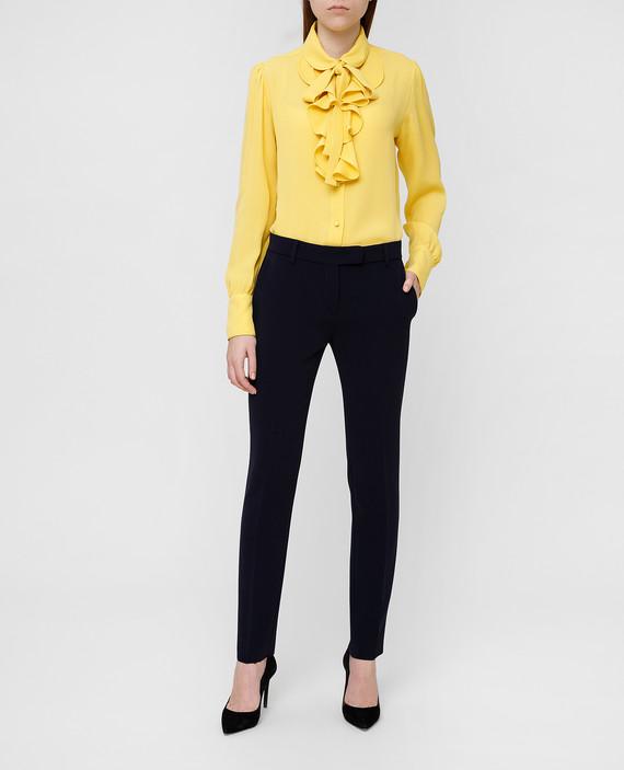 Желтая блузаиз шелка со съемной завязкой hover