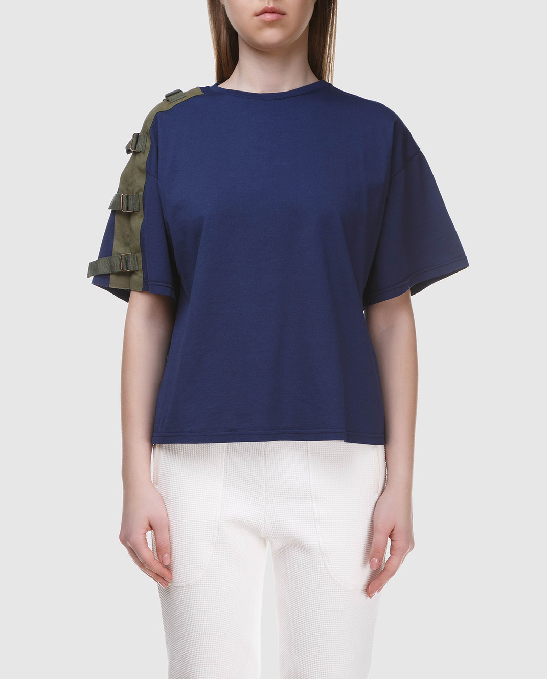 Mr&Mrs Italy Темно-синяя футболка с вышивкой на спине изображение 3