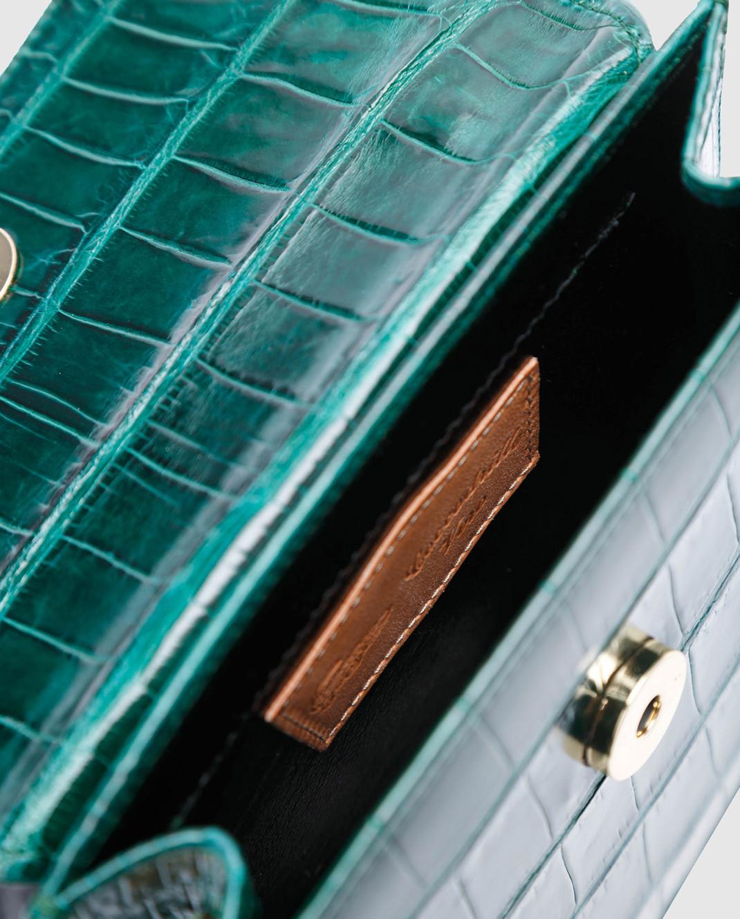 Bochicchio Зеленая кожаная сумка CROCOCLUTCH3 изображение 4