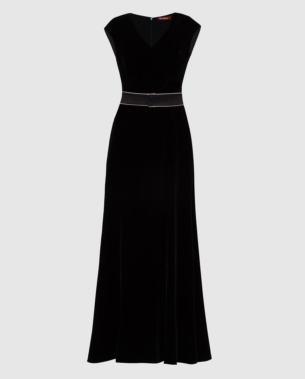 Max Mara Черное бархатное платье ASTRALE