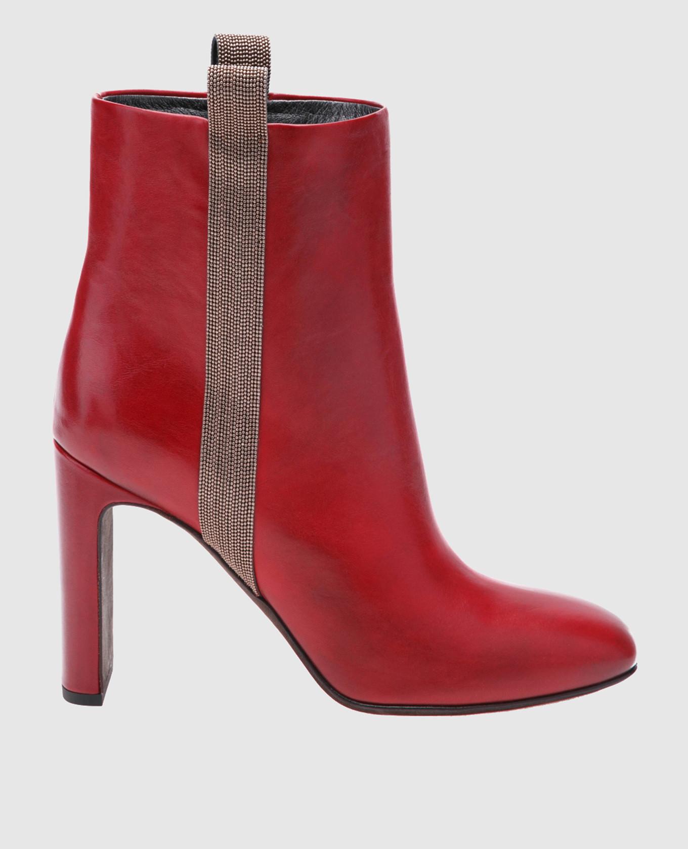 Красные кожаные ботильоны