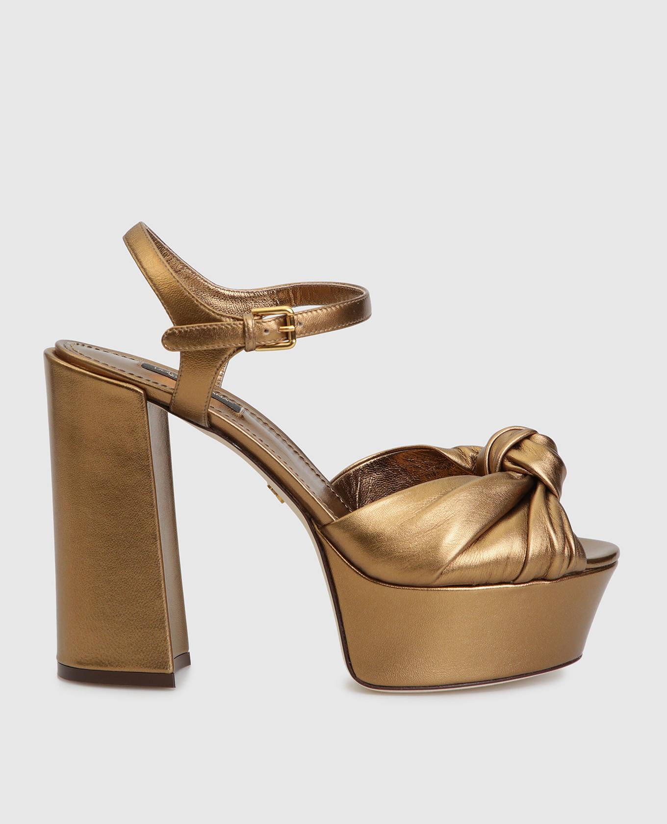 Золотистые кожаные босоножки