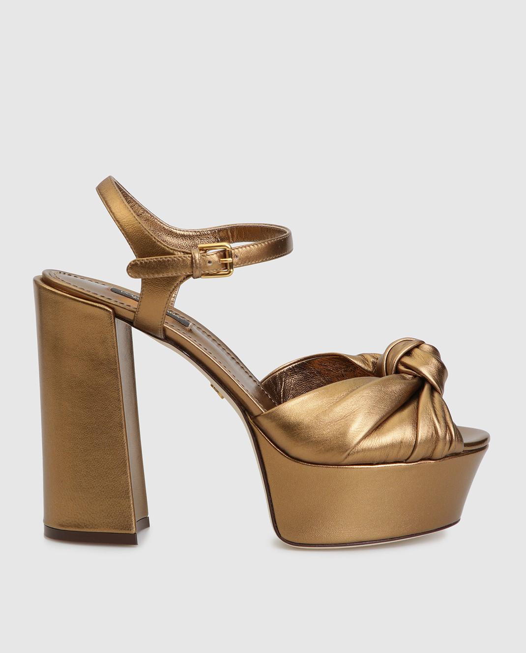 Dolce&Gabbana Золотистые кожаные босоножки CR0695A1016