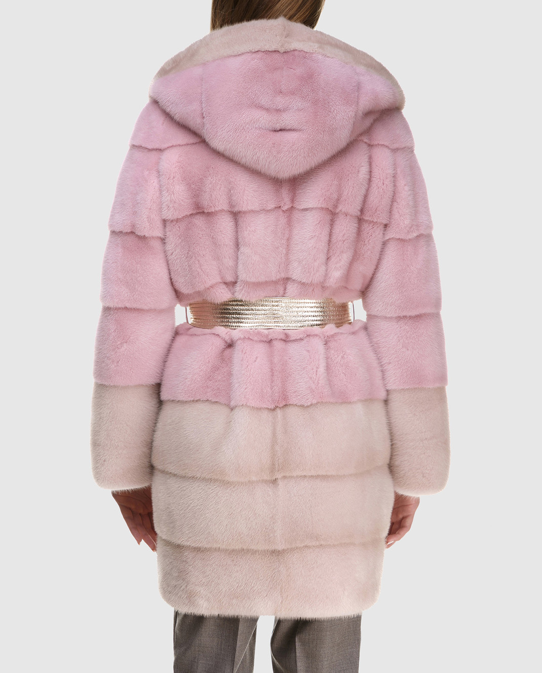 Florence Mode Розовая шуба из меха норки с поясом L1827WHITE изображение 4