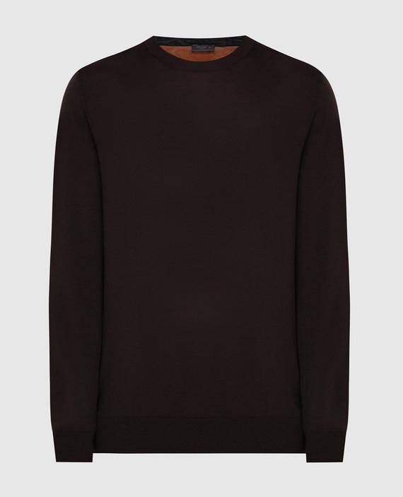Темно-коричневый джемпер из шерсти