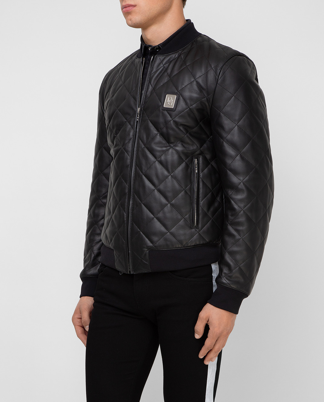 Dolce&Gabbana Черный кожаный бомбер изображение 3