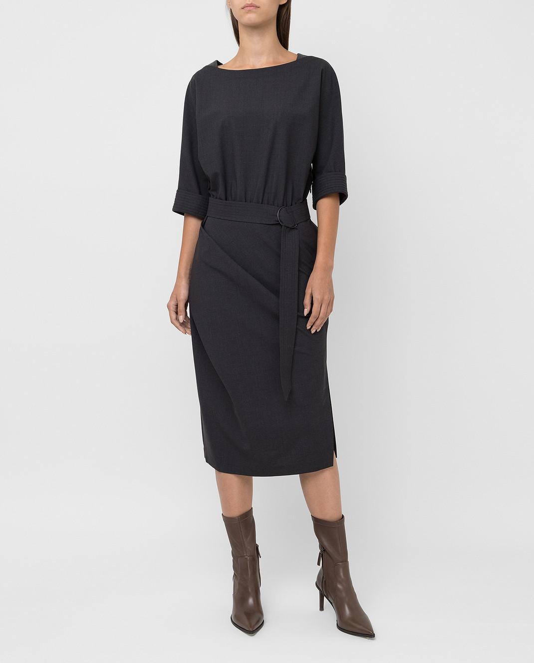 Brunello Cucinelli Темно-серое платье из шерсти изображение 2