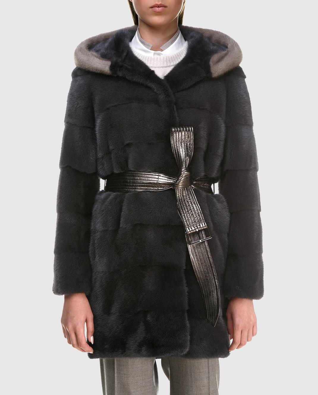 Florence Mode Темно-серая шуба из меха норки с поясом L1827SKYFALL изображение 3