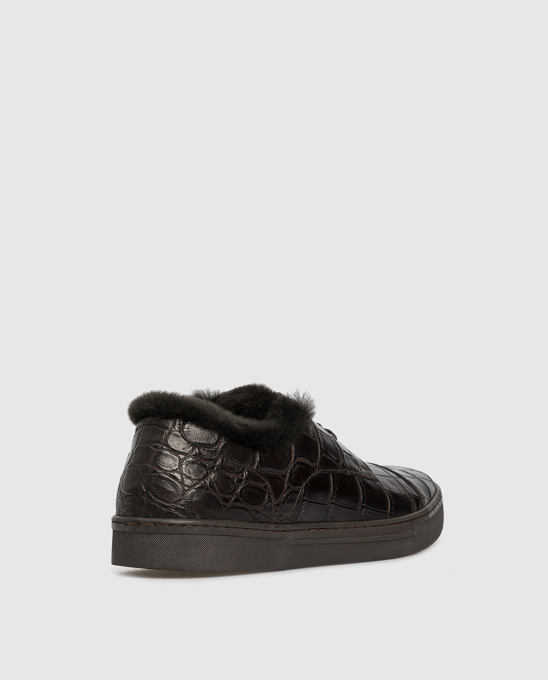 Del Dami Темно-коричневые ботинки из кожи крокодила на меху 3604 изображение 4