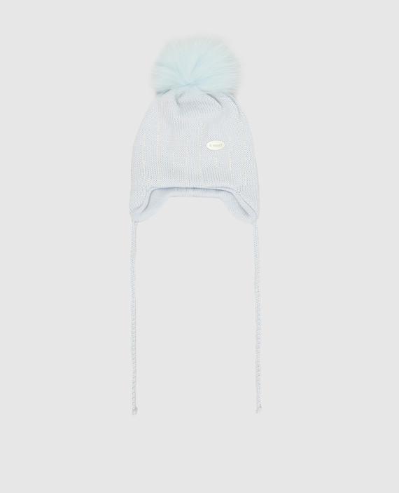 Детская голубая шапка из шерсти