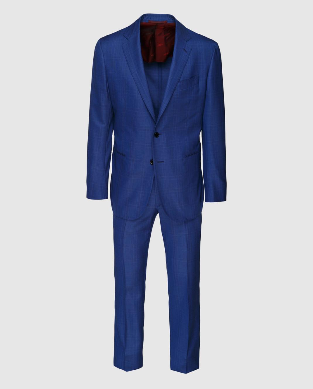 Stile Latino Синий костюм из шерсти AULUCA20A21SWA14