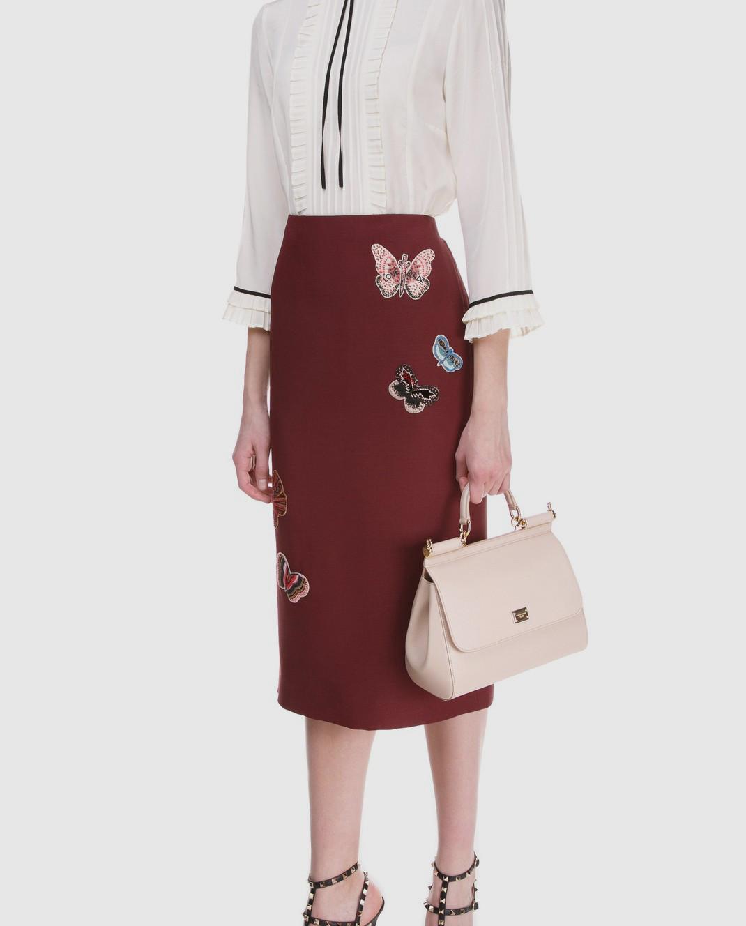 Valentino Бордовая юбка  из шерсти и шелка PB3RA2B01CF изображение 2
