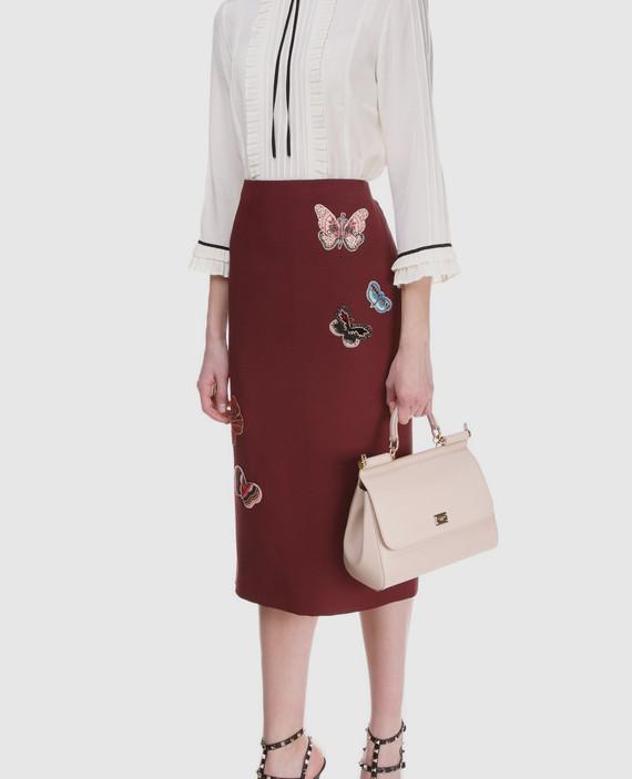 Бордовая юбка  из шерсти и шелка hover