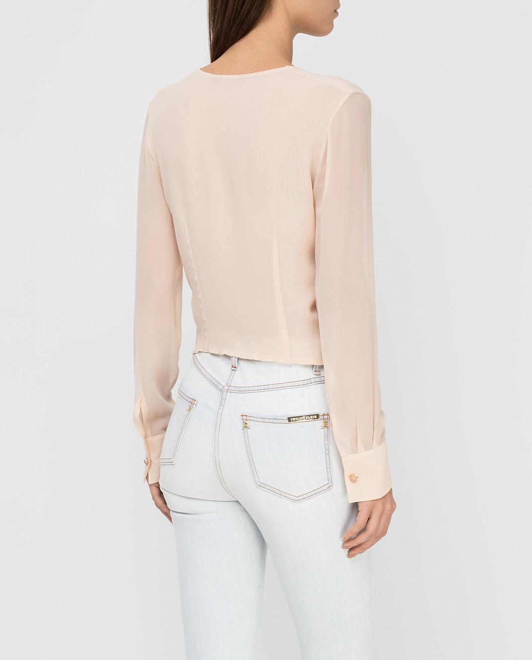 Ermanno Scervino Бежевая блуза из шелка D282K713GET изображение 4