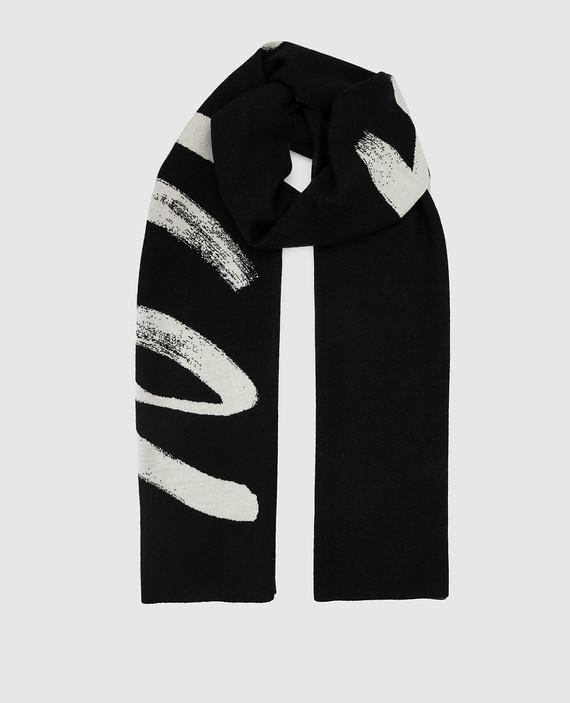 Черный шарф из шерсти