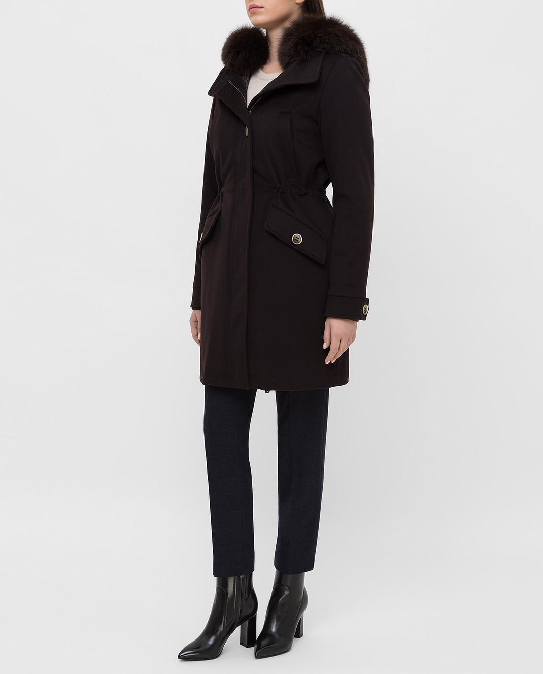 Heresis Темно-коричневое пальто из шерсти P1290VO изображение 3