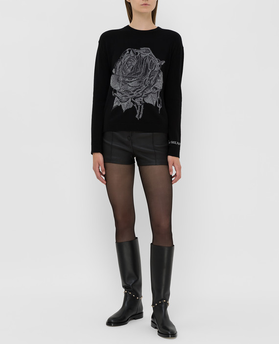 Черные кожаные шорты hover