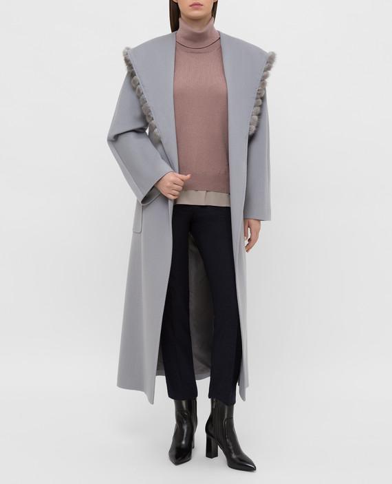 Серое пальто из шерсти hover